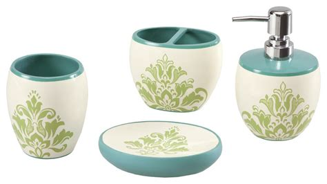 Teal Colored Bathroom Accessories by Mizone Teal Bath Accessory 4 Set
