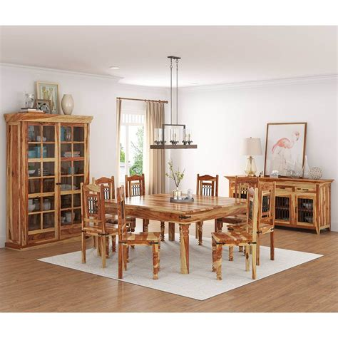 peoria rustic solid wood  piece square dining room set
