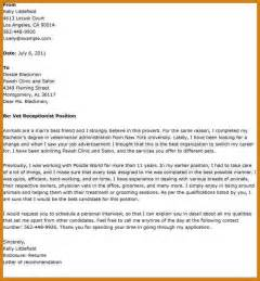 Example Cover Letter For Vet Receptionist How To Hack