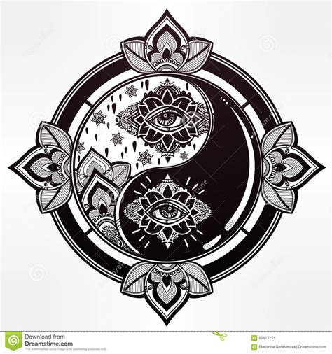 yin   trendy boho symbol stock vector image