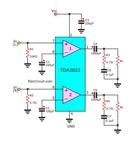 Tda Stereo Amplifier Datasheet Electronic Circuit