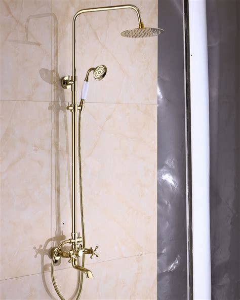 Shower Faucet Sets by Gold Finish Exposed Bathroom 8 Inch Rainfall Shower Faucet
