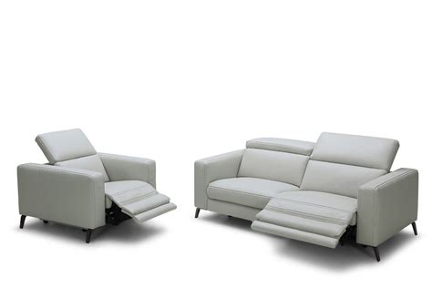 modern leather sectional sofa with recliners divani casa roslyn modern grey leather sofa set w recliners