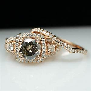 18k rose gold champagne diamond engagement ring wedding With champagne wedding ring