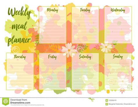 weekly meal plan mealtime vector diary cartoon vector