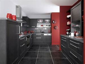 cuisine equipee rouge et noir With idee deco cuisine avec cuisine rouge et noir