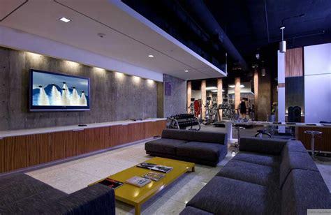 modern living room tv area  gym area interior