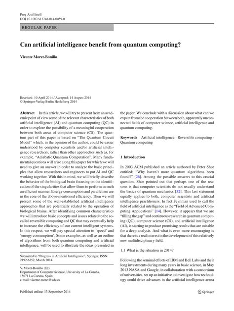 (PDF) Can artificial intelligence benefit from quantum