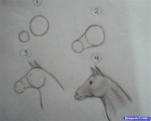 one minute horse drawing, Step by Step, Farm animals ...