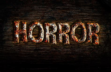 create  rusty horror text effect  photoshop