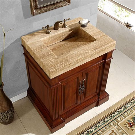 32.5 Inch Single Sink Vanity with a Unique Travertine Top