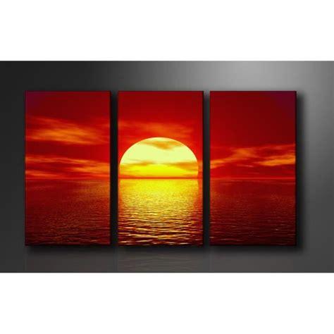 tableau imprime sur toile tableau triptyque imprim 233 160x90 cm couche soleil achat vente tableau toile toile bois
