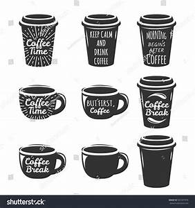 coffee cup logo set lettering concept stock vector With coffee cup labels