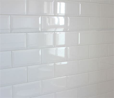 white beveled tile metro 20x10cm white gloss beveled edge tiles 1 box sqm 50 tiles per box ebay