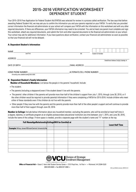 Verification Worksheet Dependent Student Template  20152016 Printable Pdf Download