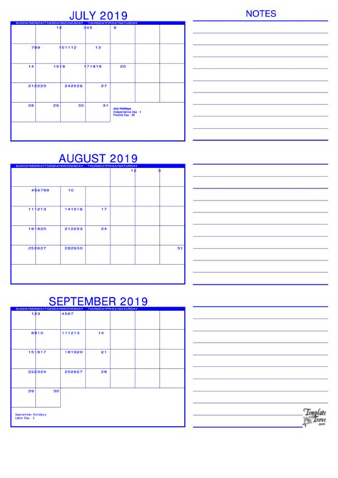 month calendar template printable