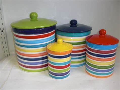 colorful kitchen canisters sets set of 4 rainbow and white bright stripes ceramic kitchen