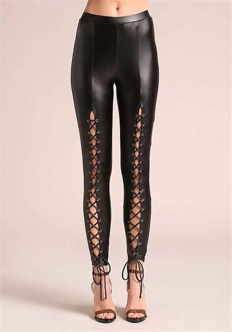 junior clothing black leatherette front lace  leggings