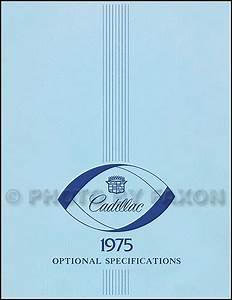 1975 Cadillac Data Book Original
