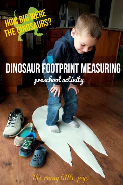 dinosaur footprints preschool measuring activity