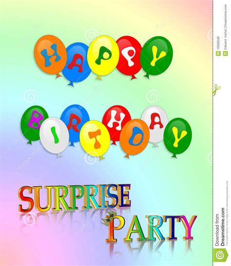 Surprise Birthday Party Invitation Stock Illustration