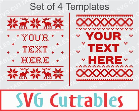 Christmas sweater pattern | svg cut file by svg cuttables. Christmas Sweater SVG EPS DXF Set of 4 templates plus