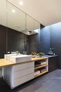 idee decoration salle de bain carrelage gris lavabo With meuble salle de bain blanc et gris