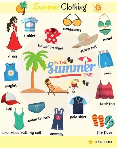 Summer Clothes And Accessories Vocabulary With Pictures  7 E S L