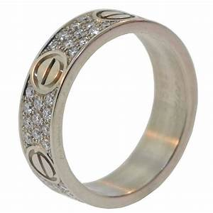cartier diamond pave gold love ring and wedding band at With cartier engagement ring and wedding band