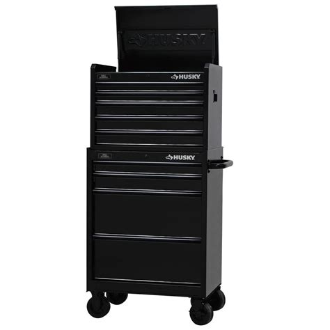 husky 27 in w 9 drawer tool chest and cabinet set black