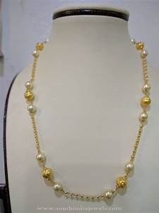 Antique Gold Ring Design 22k Gold Light Weight Pearl Chain South India Jewels