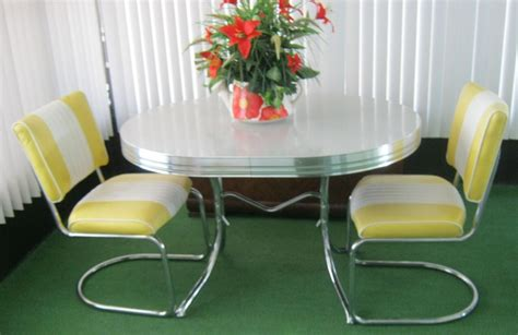 vintage retro 1950 s chrome gray yellow dining kitchen