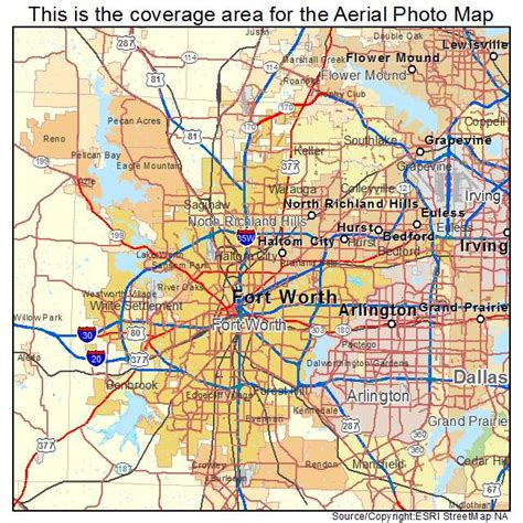 aerial photography map of fort worth tx texas