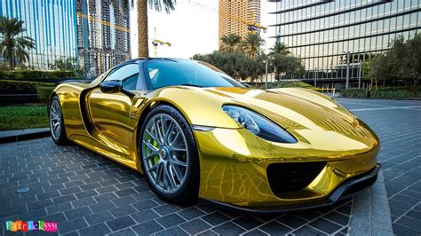 World 39 S First Chrome Gold Wrapped Porsche 918 Spyder