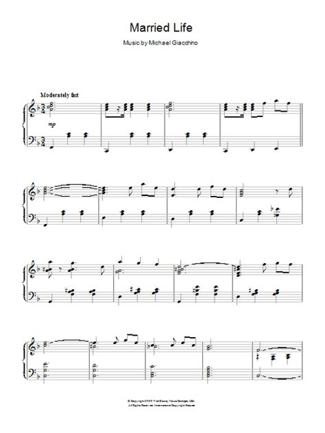 Piano sheet is arranged for piano and available in easy and advanced versions. Married Life | Sheet Music Direct