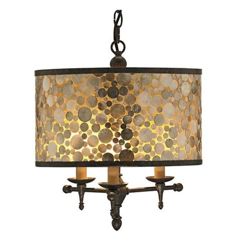 Capiz Drum Chandelier by Ellesmere Modern Capiz Shell Inlay Drum Shade 3 Light
