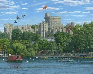 Windsor Castle From The River Thames Painting by Richard