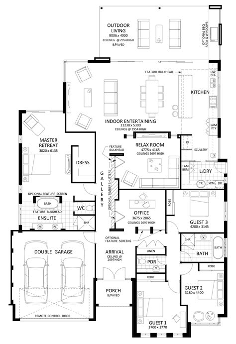 entertaining house plans floor plan friday excellent 4 bedroom bifolds with integrated entertaining space