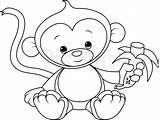 Monkey Coloring Pages Cute Baby Monkeys Drawing Colouring Swinging Template Printable Little Print Funny Edit Drawings Spider Getcolorings Cartoon Getdrawings sketch template