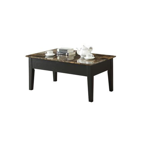Matte uv coating for realistic marble look and water resistance. HomeRoots Decor Rectangular Wooden Coffee Table with Faux Marble Lift Top, Black and Brown ...