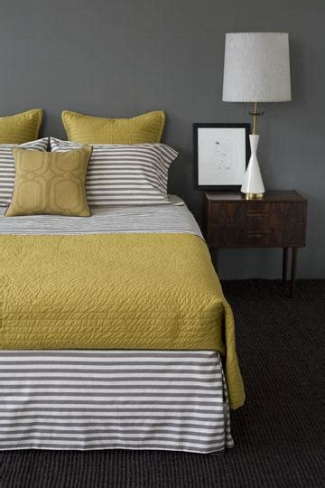 yellow  gray contemporary bedroom