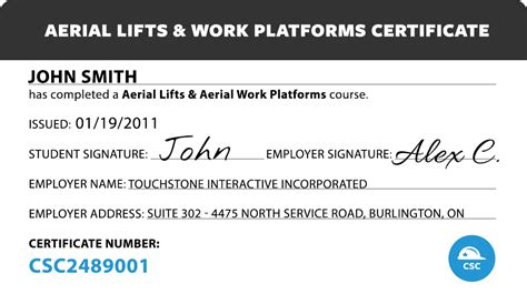 Scissor Lift Certification Card Template by Canada Safety Compliance Aerial Lifts Aerial Work Platforms
