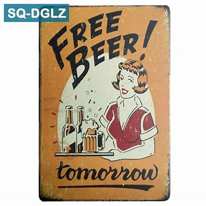 Tomorrow Beer Sign Metal Sq Plates Cafe