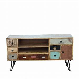 meuble tv vintage en bois fusion by drawer With meuble vintage