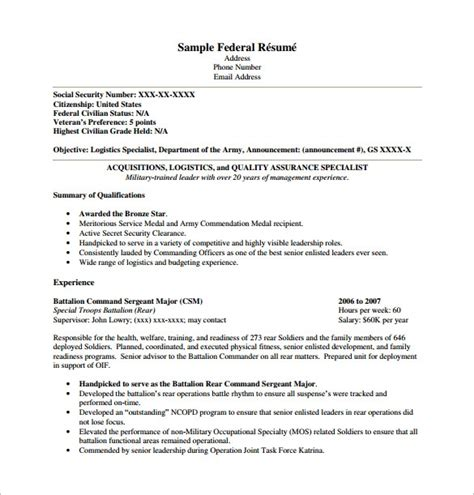Government Resume Objective by Exle Federal Resume Sle And For And Federal Government Resume Sles Exle Of