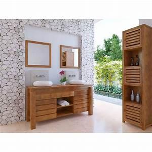 Meuble De Salle : meuble bas de salle de bain teck l gian ~ Nature-et-papiers.com Idées de Décoration