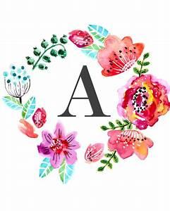 Custom floral monogram wall art free nursery printables