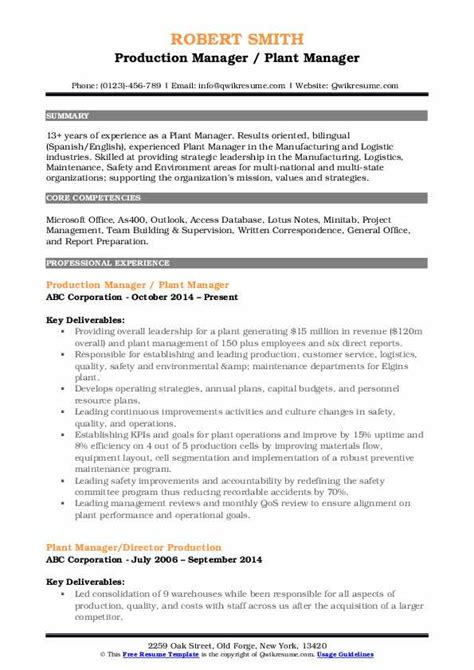 plant manager resume samples qwikresume