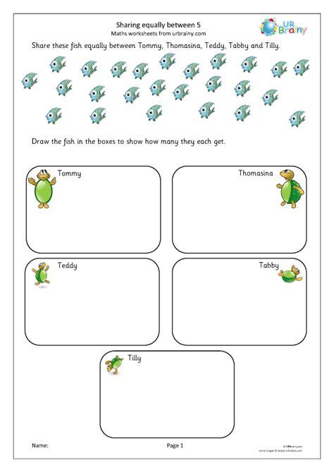 sharing equally   division maths worksheets