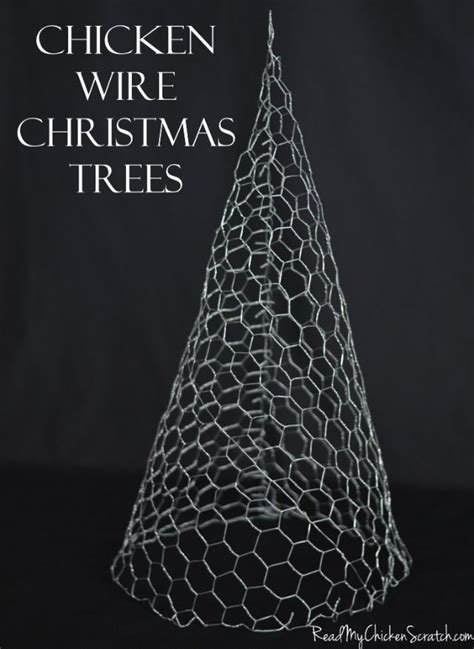 chicken wire christmas trees  paint whitesparkly